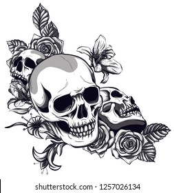 Skull And Roses Images Stock Photos Vectors Shutterstock