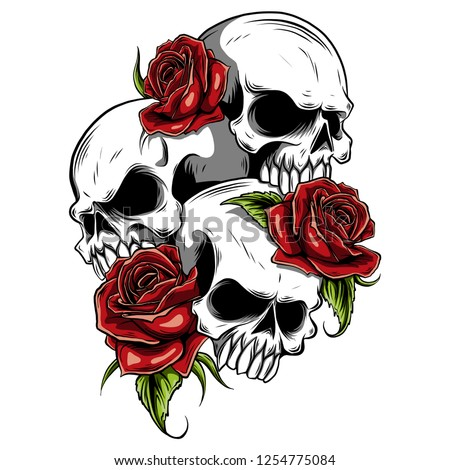 Human Skull Roses Drawn Tattoo Style Stock Vector Royalty Free