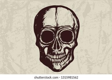 Human skull silhouette on grunge background. Hand drawn vector illustration. Tattoo skull or print design.