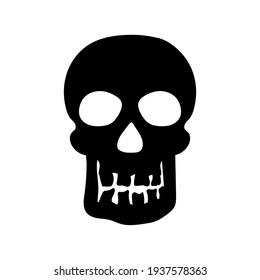 Human skull silhouette, vector illustration