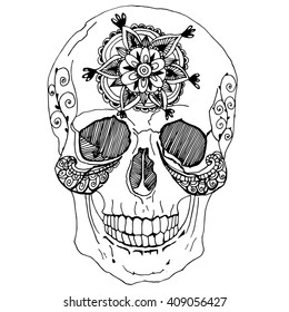 Human skull. A stylized skull. Line art. Black and white drawing by hand. Skull with flowers. Zentangl. Decorative