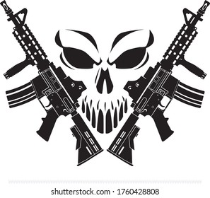 human skull symbol with crossed ar15 assault rifles