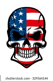 Human skull tattoo with American flag, on transparent background, for t-shirt or mascot design