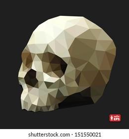 Human Skull in a Triangular Style. Vector Illustration.