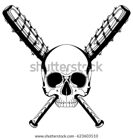 Human Skull Two Crossed Baseball Bats Stock Vector (Royalty Free ...