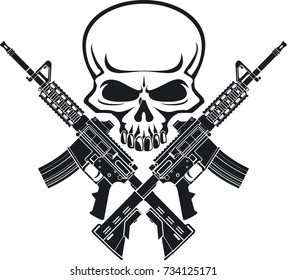human skull with two crossing assault rifles