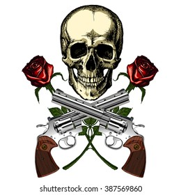 A human skull with two guns and two red roses on a blank background