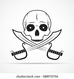 Human skull and two swords isolated on light background. Vector illustration