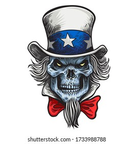 Human skull in an Uncle Sam hat . USA Art Illustration isolated on background