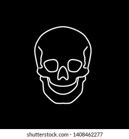 Human skull vector icon in flat linear style isolated on blackbackground
