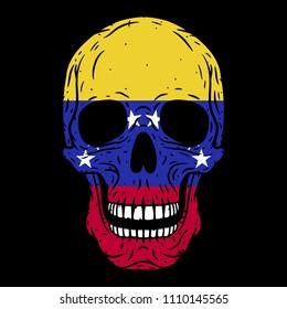 Human skull with Venezuela flag isolated on black background