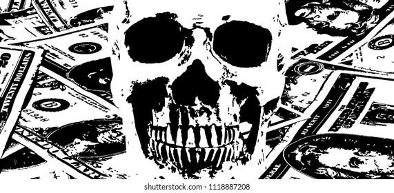 human skull and vintage old dollar bills as background. black and white vector illustration.