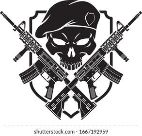 Human skull wearing military beret and crossed assault rifles