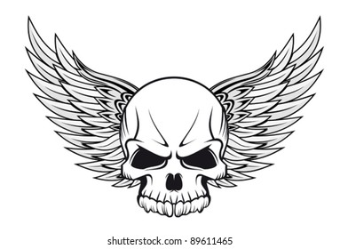 Human skull with wings for tattoo design. Jpeg version also available in gallery