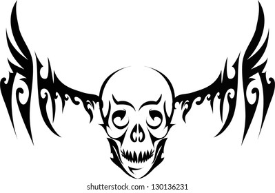 Human skull with wings for tattoo design,vector