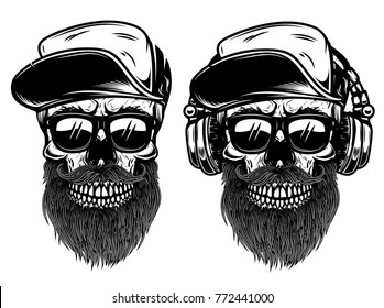 Human skulls with sunglases, baseball cap and headphones. Design element for logo, label, emblem, sign. Vector illustration