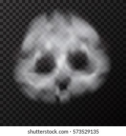Human smoke skull. Vector illustration of smoke face. Symbol of dangerous smoking cigarette.