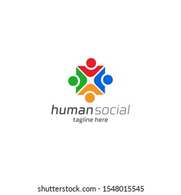 Human social, unity, together, connection, relation logo design template