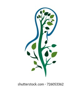 human spine in the form of a tree. medical logo