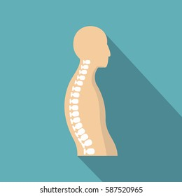 Human spine icon. Flat illustration of human spine vector icon for web