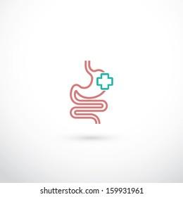 Human stomach symbol - vector illustration