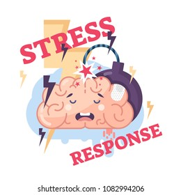 Human stress response system conceptual vector illustration brain character with lightning bolts, explosive bomb and frustrated facial emotion.