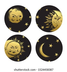 Human sun and moon medallions set. Deep night clip art in medieval engraving style.