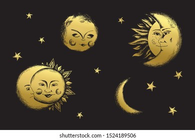 Human sun and moon set. Deep night clip art in medieval engraving style.