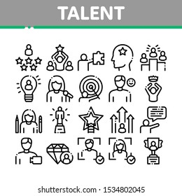 Human Talent Collection Elements Icons Set Vector Thin Line. Idea And Target, Diamond And Star, Signer, Speaker And Actor Talent Concept Linear Pictograms. Monochrome Contour Illustrations