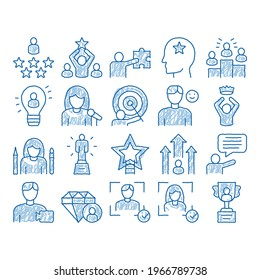 Human Talent Elements sketch icon vector. Hand drawn blue doodle line art Idea And Target, Diamond And Star, Signer, Speaker And Actor Talent Illustrations