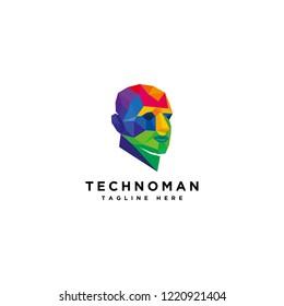 Human technology logo, human virtual logo, human digital icon, colorful head human logo