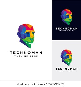 Human technology logo, human virtual logo, human digital icon, colorful head human logo