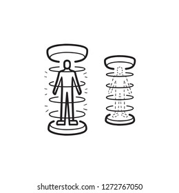 Human teleportation hand drawn outline doodle icon. Future technology, human teleportation research concept. Vector sketch illustration for print, web, mobile and infographics on white background.