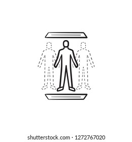 Human teleportation technology hand drawn outline doodle icon. Superhuman science, future technology concept. Vector sketch illustration for print, web, mobile and infographics on white background.