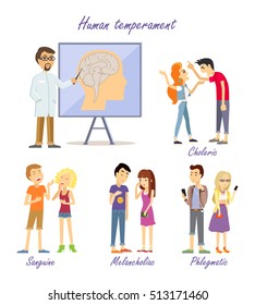 Human temperament personality types. Scientific approach. Sanguine optimistic social, choleric short-tempered or irritable, melancholic analytical and quiet, phlegmatic relaxed and peaceful. Vector.