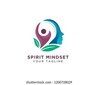 Human think health, spirit and success logo design inspiration