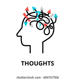 Human Thoughts icon, flat thin line vector illustration, for graphic and web design