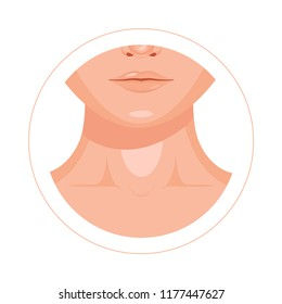 Human throat, clavicle, lips and nose design icon