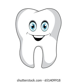 Human tooth with happy face vector illustration