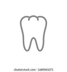 Human tooth line icon. Healthy internal organ symbol