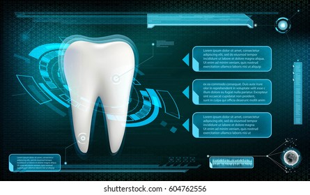 Human tooth on a technology background. Whitening and treatment. Stock vector illustration.