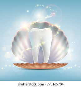 Human tooth in a seashell. Dental implant and treatment. Stock vector graphics.