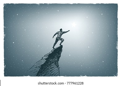 Human at the top of the mountain wants to reach the big star. Vector concept art illustration, hand drawn sketch.