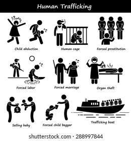Human Trafficking Stick Figure Pictogram Icons
