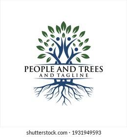 Human Tree Creative Concept Logo Design Template, People Tree Vector Logo.