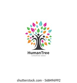 Human Tree Creative Concept Logo Design Template
