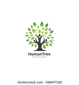 Human Tree Creative Concept Logo Design Template