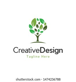 Human Tree Growth Moving Creative Logo