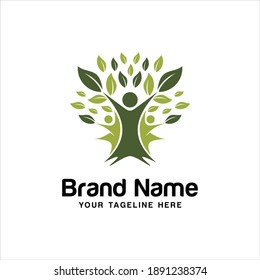 Human Tree Logo Templates and Vector, Abstract eco human tree logo design vector template, Family tree concept icon logo template.