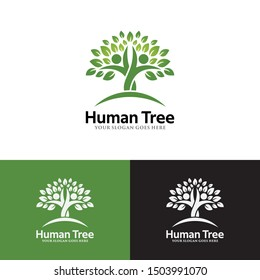 Human Tree Vector Logo Template